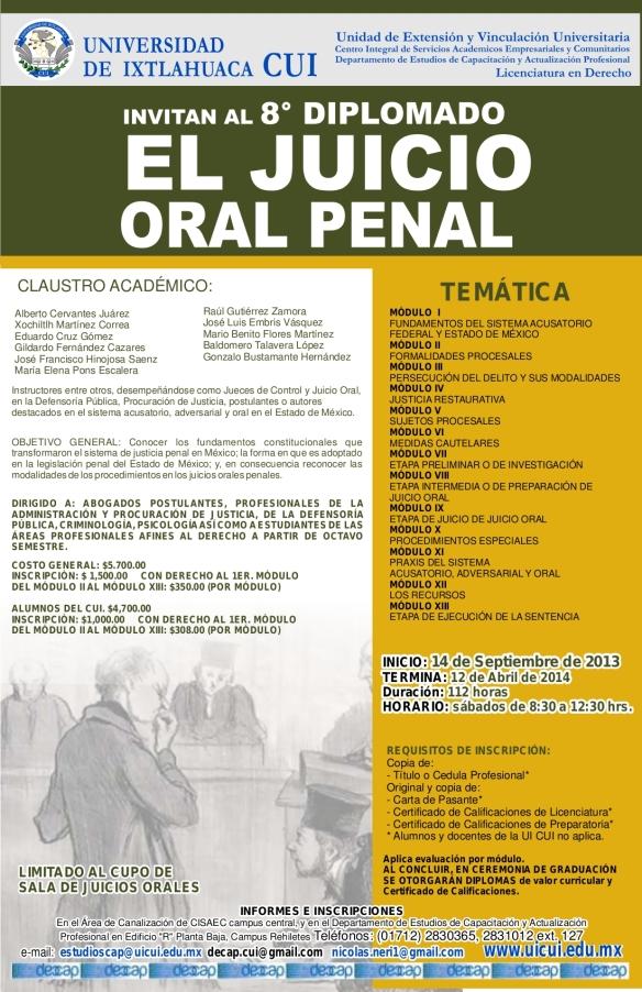 Cartel El juicio oral penal 5julio2013